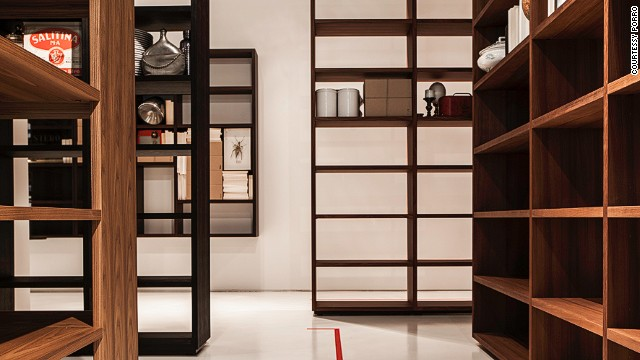 "Italian house <a href='http://www.porro.com/' target='_blank'>Porro</a> presented ""Woodenland"", a labyrinthine bookcase installation by designer Piero Lissoni."