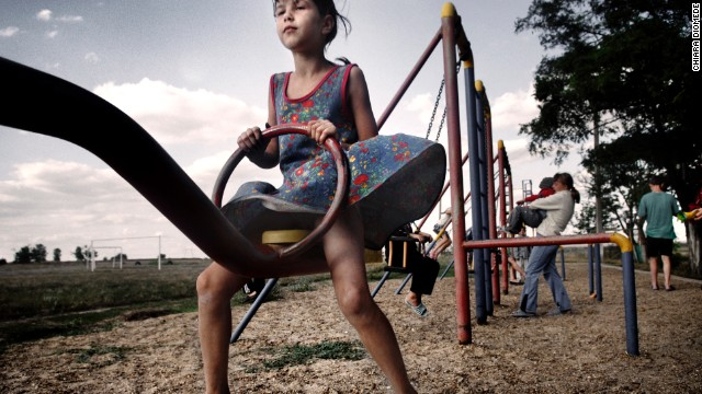 A child enjoys a Transnistrian playground.