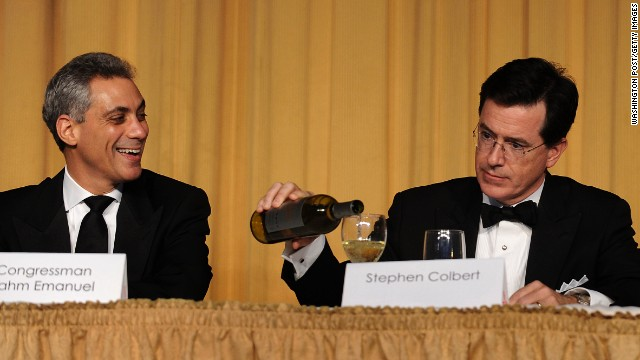 Colbert hosted a roast for then congressman -- and later Chicago mayor -- Rahm Emanuel in 2008. Colbert, a South Carolina native, has ties with Chicago, having gone to college at Northwestern, in nearby Evanston, and worked in the city's comedy scene.