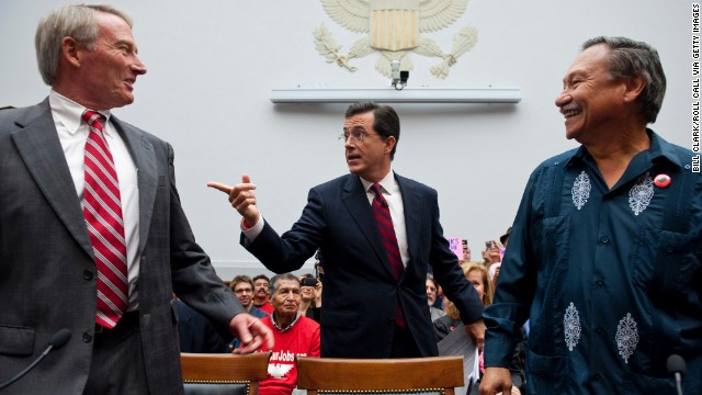 In September 2010, Colbert testified at a hearing on immigration. He took time to chat with Phil Glaize, chairman of the U.S. Apple Association, left, and Arturo Rodriguez, president of the United Farm Workers. Again, some representatives didn't get Colbert.