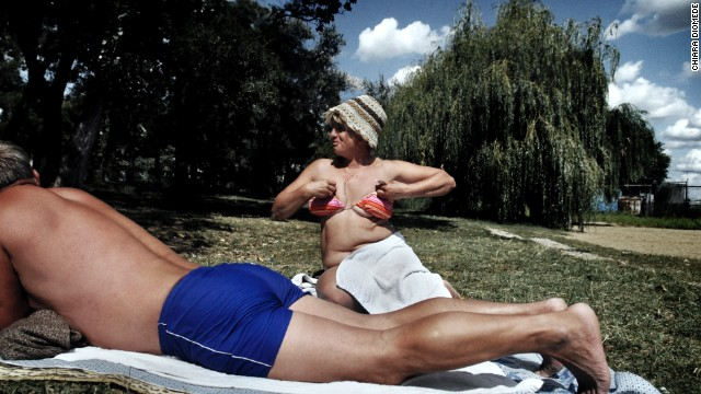 Sunbathers enjoy warm weather in Dnestrovsc, Transnistria, in 2009.