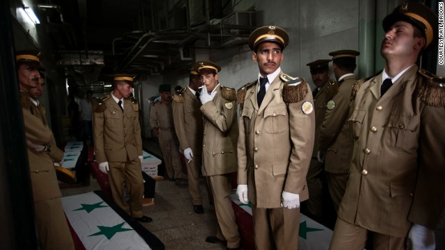 Here, Brooks captures the Syrian army holding a funeral service at the Tishreen Military Hospital in Damascus, for 42 government soldiers killed in fighting against insurgents.
