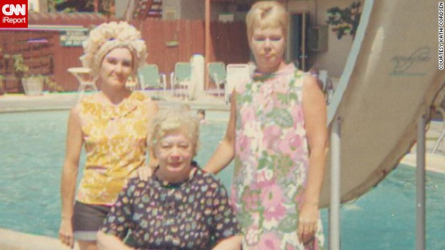 "Cordsen -- whose mother, aunt and grandmother are seen here on vacation in 1967 -- remembers how her mother wore hot pants but she was not allowed to wear them. It wasn't until 1970 that ""we were finally allowed to wear slacks to school. Up until that time the only time we (students) could wear slacks was if it was raining."""