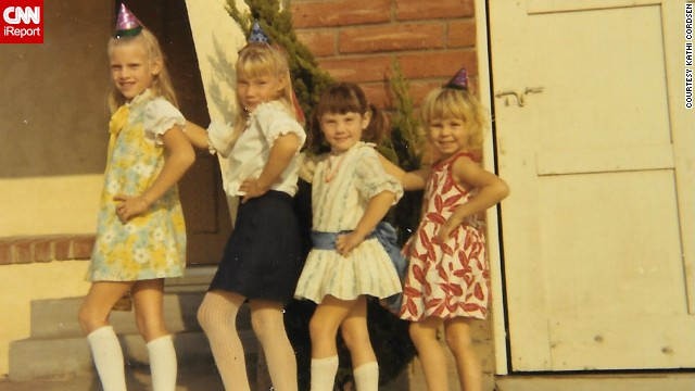 Kathi Cordsen's sister and three of her cousins are seen here posing in Cypress, California, in 1969, showing off the styles of the era.