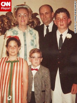 "Miami resident Craig Riegelhaupt recalls taking this ""nerdy family"" photo when they moved to the city in 1967. ""The bows in my mother's and sister's hair, and my red bow tie and horn-rimmed glasses epitomize the look of the 1960s."""