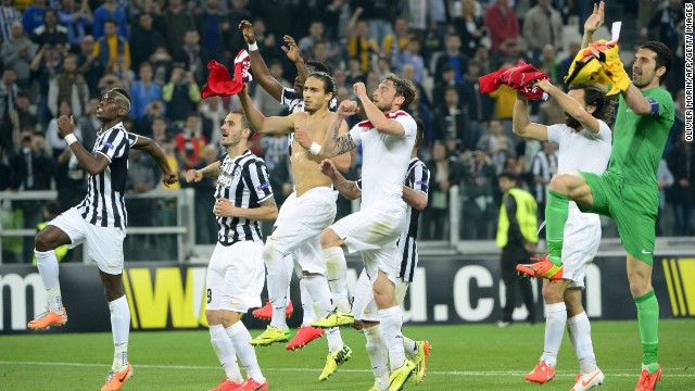 Juventus players celebrate after reaching the semifinals in the Europa League.