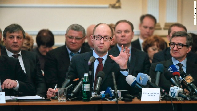 Ukrainian Prime Minister Arseniy Yatsenyuk speaks April 11 during his meeting with regional leaders in Donetsk, Ukraine. Yatsenyuk flew into Donetsk, where pro-Russian separatists occupied the regional administration building and called for a referendum.