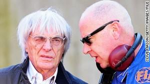 Gary Hartstein (R) talks to F1 supremo Bernie Ecclestone