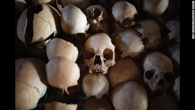 Skulls of victims from the genocide are displayed inside the Ntarama Catholic Church memorial on April 4 in Ntarama.