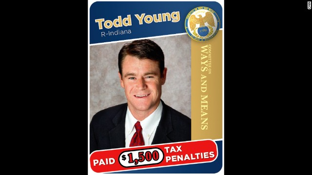 "Indiana Republican Rep. Todd Young had to pay $1,500 in tax penalties after a mortgage escrow mix up. ""I regret the errors and offer no excuses,"" Young told CNN. Click through the images to see other members of the House tax-writing committee's tax problems."