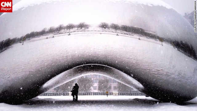 "Zahava Hanuka caught this rare, empty scene at Millennium Park. ""There was the most romantic couple standing <a href='http://ireport.cnn.com/docs/DOC-1119012'>underneath the Bean</a>, just there for me to shoot a chance of a lifetime shot,"" she said."