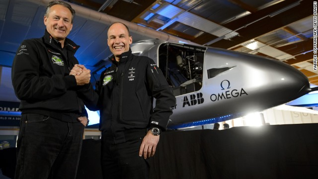The plane is the brainchild of Swiss pilots Bertrand Piccard (right) and Andre Borschberg (left). The aviation pioneers will attempt to record the longest flight in aviation history, flying for 120 hours non-stop.