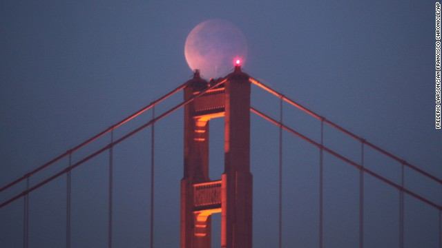 The same lunar eclipse from December 2011 is seen here over the Golden Gate Bridge in San Francisco.