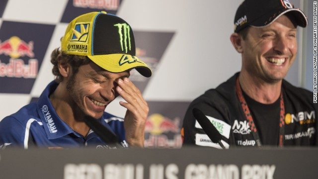 "Valentino Rossi (left) on the announcement: ""I am very sad about the news of Colin's retirement as he is one of my best friends in the paddock. He is a great guy and a great rider."""