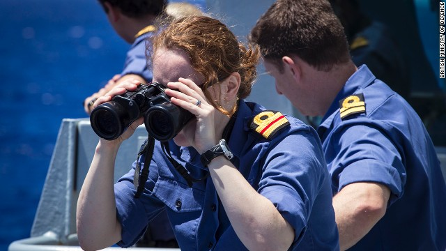 British Royal Navy sailors aboard the vessel HMS Echo take part in the search for the jet on April 13.