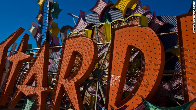 Outdated and discarded neon signs from now-closed casinos and hotels are displayed at the Neon Museum.