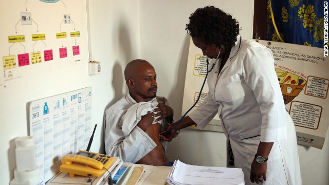 Egidia Almeida, a nurse in Guinea-Bissau, scans a Guinean citizen coming from Conakry on April 8.