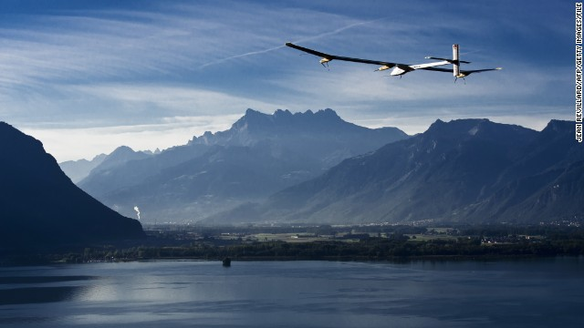Solar Impulse 1, pictured here over Lake Geneva, broke several records, including the world's first fully solar-powered intercontinental flight from Switzerland to Morocco in 2012.
