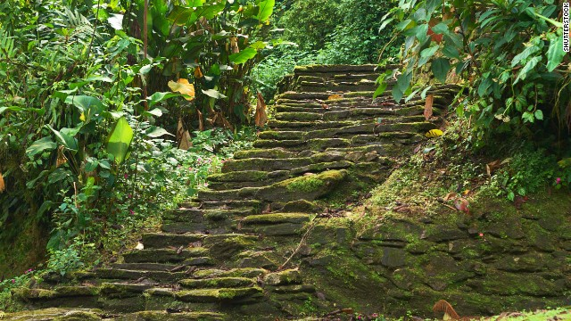 These old stone stairs are part of the <a href='http://globalheritagefund.org/what_we_do/overview/current_projects/ciudad_perdida_colombia' target='_blank'>Ciudad Perdida</a> (the Lost City) in Colombia's Sierra Nevada de Santa Marta, a UNESCO-designated biosphere reserve. The Tayrona Indians built some 200 structures throughout the Lost City between about the third and 17th centuries. The structures were discovered in the 1970s.