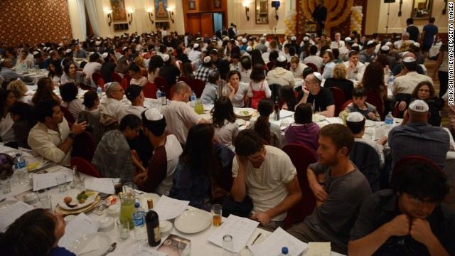 Israeli Jewish worshippers gather in a hall for Passover in Kathmandu on April 14.
