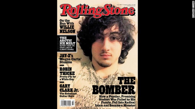 The<a href='http://www.cnn.com/2013/07/17/studentnews/tsarnaev-rolling-stone-cover/' target='_blank'> August 2013 cover of Rolling Stone</a> featuring Tsarnaev sparked a backlash against the magazine.