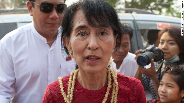 Myanmar's National League for Democracy leader Aung San Suu Kyi pictured at a polling station in 2012.