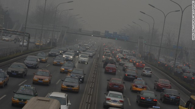 Air pollution reaches new heights on Beijing's second ring road in February 2014.