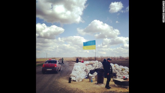"EASTERN UKRAINE: ""Ukrainian Police checkpoint north of Donetsk. A rare sight these days in Eastern Ukraine."" - CNN's Christian Streib, April 15. Follow Christian on Instagram at instagram.com/christianstreibcnn."