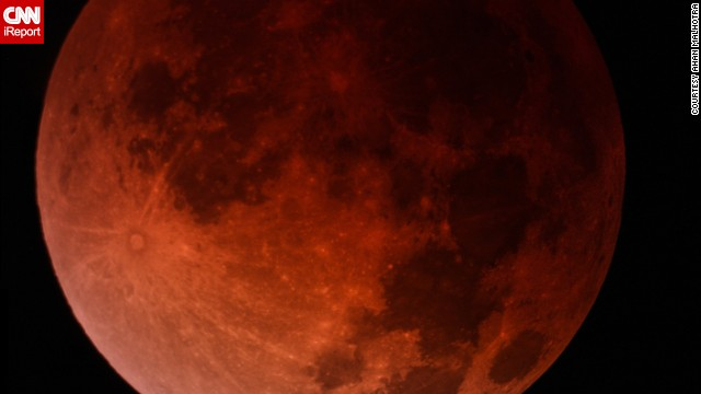 "High school sophomore Ahan Malhotra and his dad captured this composite image of the blood moon over Miami early April 15. ""My dad and I have been planning to view this for many months, and it was truly a breathtaking experience,"" said Malhotra, an astronomy enthusiast who likes to photograph ""mostly galaxies and nebulae."""