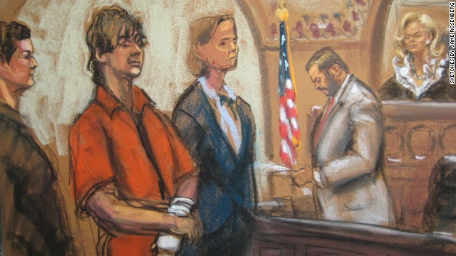 Tsarnaev stands in court, flanked by his lawyers, in this sketch from July 2013, the last time he has been seen in public.