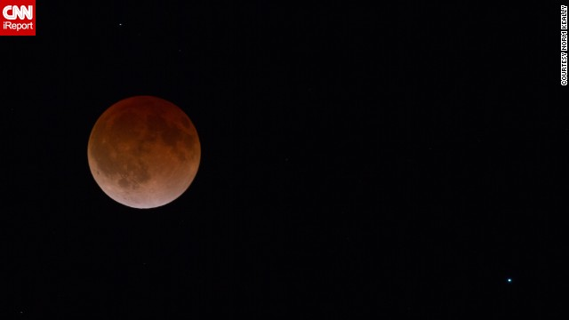 "<a href='http://ireport.cnn.com/docs/DOC-1120890'>Norm Keally</a> stood outside in 28-degree weather to capture the start of the lunar eclipse in Fort Collins, Colorado, early on April 15. ""I felt fortunate to be able to witness this eclipse,"" he said."