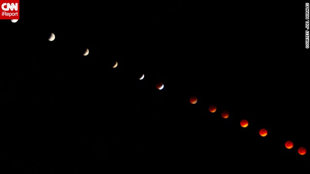 Joel Morales says he superimposed 100 separate images to create this progression photo of the blood moon over Dundedin, Florida, in April.