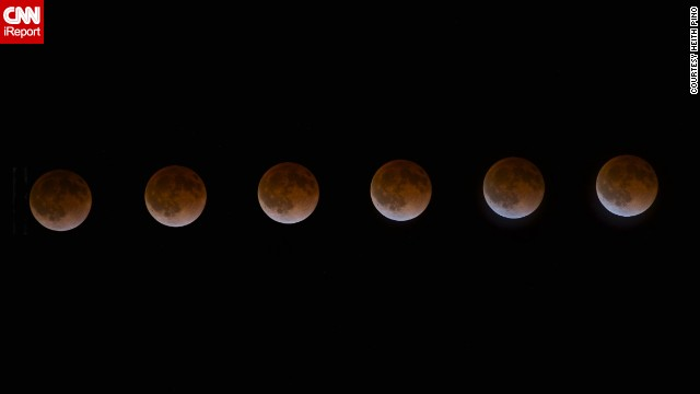 "iReporter Heith Pino of St. Helena, California, used an intervalometer and a shutter release to capture a photo of the blood moon every four minutes. He stitched together six shots to create this time-lapse photo series. ""I was blown away by the colors it reflected and knew I had to brave the cold, chilly evening to capture it,"" Pino said."