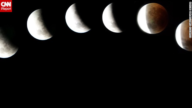 "Christopher Decker put his cell phone camera up to a 10-inch telescope to capture these images of the April blood moon over Sargent, Nebraska. He says the final product, a composite of 10 images, was ""absolutely worth every minute."""