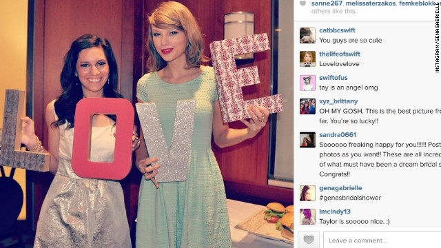 Taylor Swift should be invited to all of our parties. Not only does the superstar singer show up when called -- as she did when fan Gena Gabrielle sent the star an invite to her bridal shower in Columbus, Ohio -- but she comes bearing gifts. Gabrielle, pictured here with Swift on the day of her bridal shower, was gifted with plenty of cooking supplies from the singer, including a KitchenAid mixer.