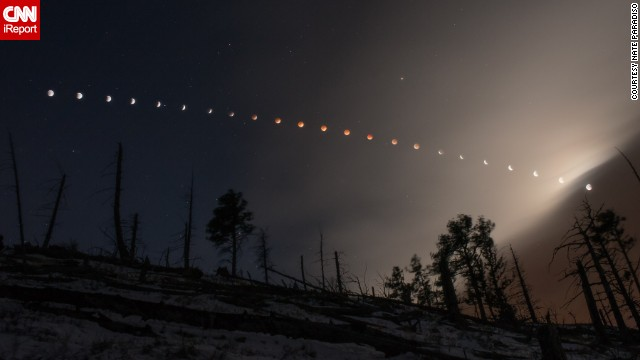 Nate Paradiso created this composite image of the lunar eclipse on Tuesday, April 15, as seen from the foothills of Boulder, Colorado.