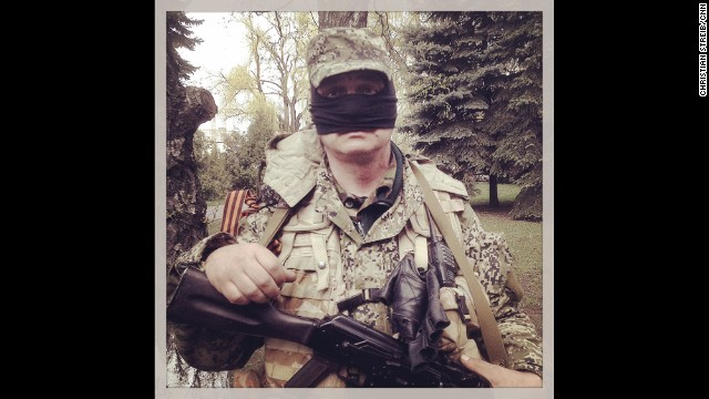 "SLOVYANSK, UKRAINE: ""Welcome to Balaclavistan! This happy chap wouldn't say if he's Crimean, Russian or Ukrainian."" - CNN's Christian Streib. Follow Christian on Instagram at instagram.com/christianstreibcnn."