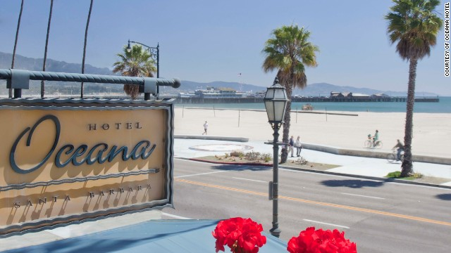 While hotels aren't really right on the sand in Santa Barbara, California, the Hotel Oceana is about as close as it gets (right across the street).