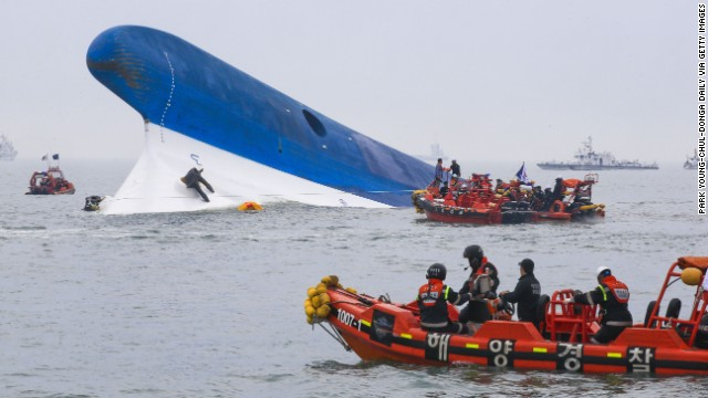 South Korean coast guard members search for survivors from the Sewol as it sinks on April 16.