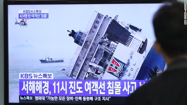 A man in Seoul watches a news broadcast about the sinking vessel.