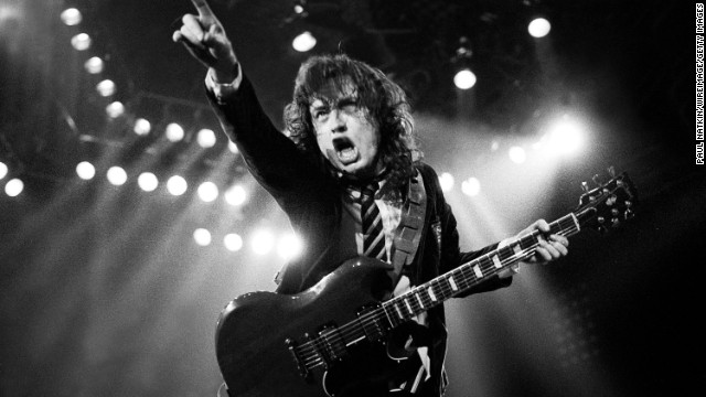 Angus Young performs in Chicago in 1979.