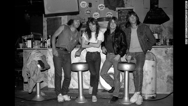 The band poses for a photo at a bar in Rhode Island in 1985.