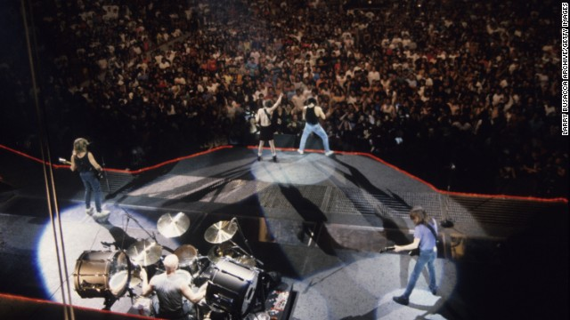 AC/DC performs at the Nassau Coliseum in Uniondale, New York, in 1986.