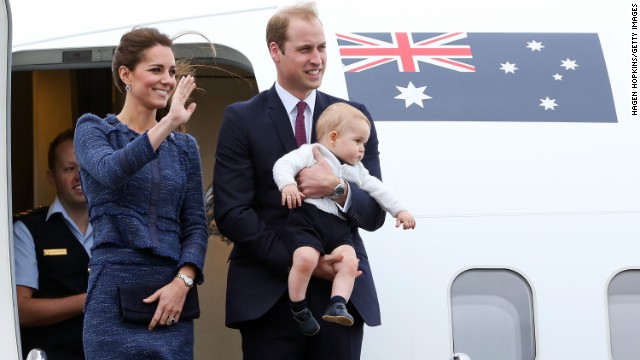 The royal family wave to the crowd before boarding a Royal Australian Air Force plane to Australia at Wellington Airport's military terminal April 16 in Wellington, New Zealand. The Duke and Duchess of Cambridge went on a three-week tour of Australia and New Zealand, the first official trip overseas with their then 8-month-old son.