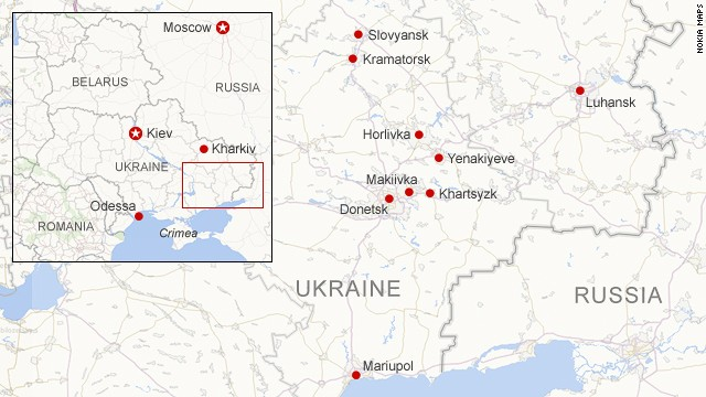 Areas of unrest in eastern Ukraine