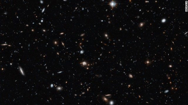 Some of the objects in the Hubble's image date back to the early years of the universe.