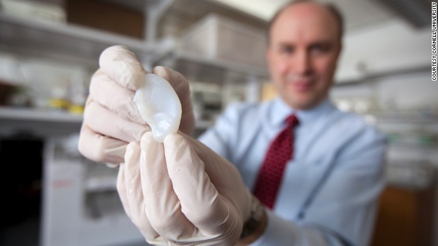 Lawrence Bonassar, of Cornell University, has created ears made from living cells, grown from 3-D printed molds.