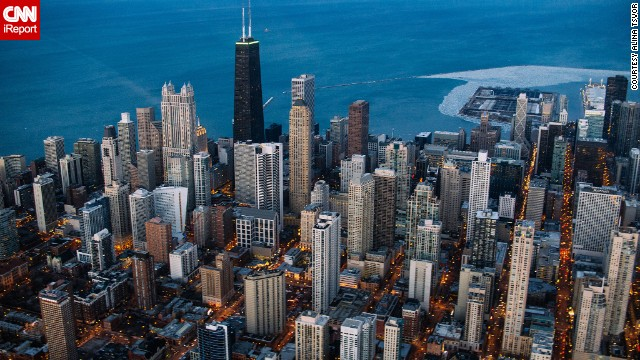 Photographer Alina Tsvor took this <a href='http://ireport.cnn.com/docs/DOC-1120451'>aerial photograph</a> of Chicago during a helicopter tour to try to capture the city in a new way. Click through to see other images of Chicago in all its glory.