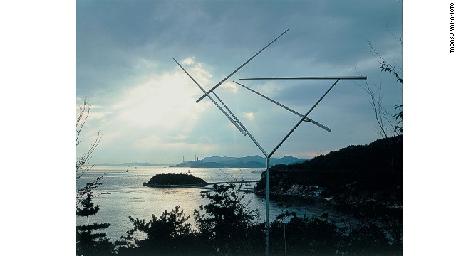 """Naoshima is reached by ferry from the ports of Uno and Takamatsu. The southern side of the island is studded with sculptures, such as George Rickey's kinetic """"Four Lines"""" (pictured), and stunning architecture set against a beautiful sea backdrop."""