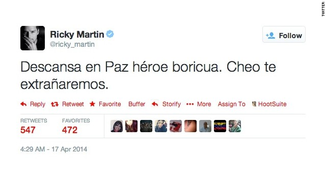 Las redes sociales lloran a 'Cheo' Feliciano